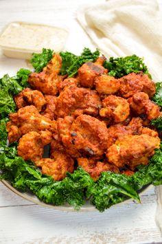 Crispy Cauliflower Hot Wings - vegan and gluten free - Mallory Maddox