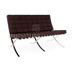 Barcelona Style 2 Seat Loveseat Sofa Premium Genuine Full Italian Leather - Brown