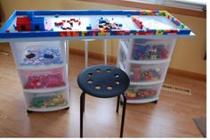 Make Your Own Lego Table! The best part is that Lego table combines a Lego storage space and a Lego play station seamlessly. This Lego table costs almost nothing. And it can be moved around easily.