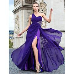 One Shoulder floor length Chiffon Evening Dress
