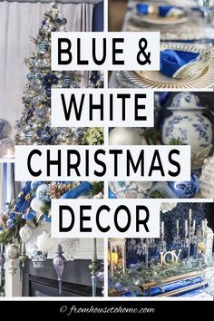 I love this blue and white Christmas home tour. All kinds of Christmas decorating ideas for the tree, living room, table and fireplace mantle. #fromhousetohome #christmas #christmasdecor #blueandwhite #christmasdecoratingideas #bluechristmasdecor Blue Christmas Decor, Christmas Decorations For The Home, Christmas Table Settings, Christmas Tablescapes, Gold Christmas, Christmas Home, Room Decorations, Christmas Lights, Xmas