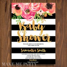 Modern floral baby shower Invitation, Black and white stripes, Script, Modern Shabby Chic sold by MakeMeParty. Shop more products from MakeMeParty on Storenvy, the home of independent small businesses all over the world.