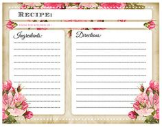 Printable Recipe Cards, Printable Labels, Printables, Scrapbook Recipe Book, Printable Lined Paper, Recipe Sheets, Recipe Binders, Daily Planner Printable, Food Themes