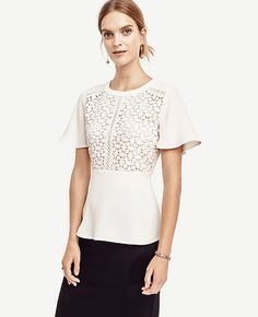 Image of Petite Lacy Peplum Top