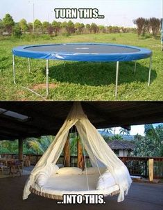 Turn a trampoline into a hanging outdoor bed as a new take on the hammock idea for relaxing. Turn a trampoline into a hanging outdoor bed as a new take… Trampolines, Outdoor Projects, Home Projects, Craft Projects, Diy Furniture, Outdoor Furniture, Outdoor Decor, Outdoor Spaces, Backyard Furniture