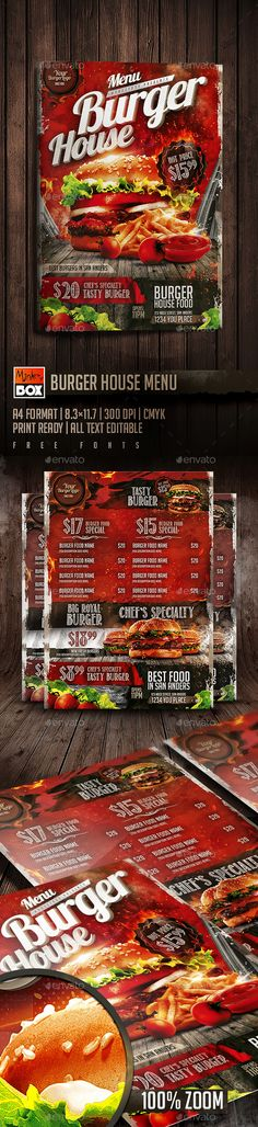 Burger House Menu Flyer Template PSD. Download here: http://graphicriver.net/item/burger-house-menu/15755637?ref=ksioks