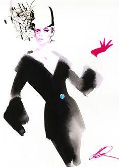 David Downton-british- Eduardo 2013 Watercolour- Ambiguous silhouette and texture of fur coat. Contrast of black against bright colour