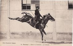 Along with jumping, cavalry horses were trained in the moves of the haute ecole.