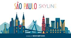 Illustration featuring Sao Paulo skyline with silhouettes of classic buildings…
