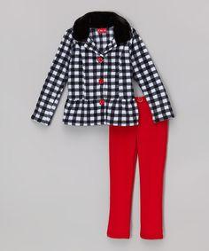 Look at this #zulilyfind! Black Gingham Jacket & Red Leggings - Toddler & Girls by Penelope Mack #zulilyfinds