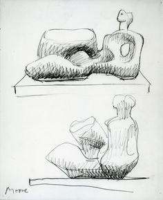 Moore Drawing for Unesco Reclining Figure © The Henry Moore Foundation. All Rights Reserved Body Drawing, Life Drawing, Drawing Sketches, Art Drawings, Sculpture Clay, Abstract Sculpture, Geometric Sculpture, Henry Moore Reclining Figure, Henry Moore Drawings