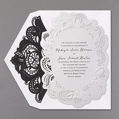 Lacy, laser-cut edging makes this wedding invitation a cut above all the rest. White shimmer paper makes the whole look gleam. The laser-cut envelope liner adds exquisite coordination.