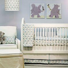 Adorable boy's nursery with bumperless crib bedding