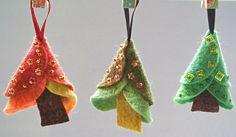 Set of 3 Unique Felt Christmas Tree Decorations