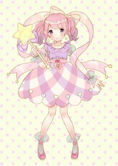 ✮ ANIME ART ✮ pastel. . .magical girl. . .dress. . .fairy want. . .ribbons. . .twin tails. . .pink hair. . .two tone hair. . .jewelry. . .ruffles. . .cute. . .kawaii