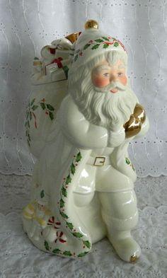 Lenox Holiday Santa Cookie Jar Collectible Mint in Box Skates New Millennium 99 #Lenox