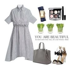 """Fashion Striped Dress"" by alicechang1 ❤ liked on Polyvore featuring NDI, Tory Burch and Chanel"