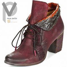 Vera Pelle Stiefeletten 7cm Damen Stiefel Boots Echtleder Bordeaux Apropos