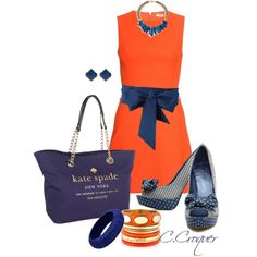 """""""Orange Dress"""" by ccroquer on Polyvore"""