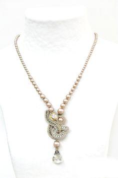 bridal, bridal pendant, bridal necklace, blush, neutrals, nude, nude tones pendants, blush tones pendants, bridal pendants, des n207, desn207, soutache, embroidery, hand embroidered, passementerie