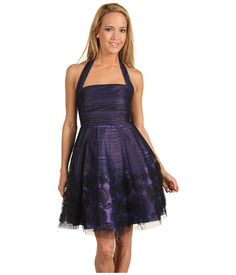 Jessica Simpson Embroidered Halter Dress Purple