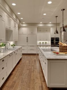 white kitchen, light gray counters