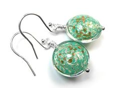 Murano Glass Lentil Earrings - Fern and White Gold Murano Glass Beads, Pretty Green, Ferns, Shades Of Green, Gold Foil, Clear Glass, Sterling Silver Jewelry, White Gold, Shapes