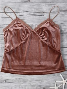 Lace Trim Velvet Camisole Top - COFFEE S