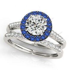 1.5/9CT Blue Sapphire & White Diamond Halo Wedding 2Pcs Bridal Ring Set #aonedesigns