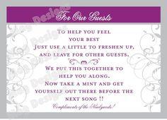 CUSTOMIZABLE Wedding Reception Bathroom Guest by iDoArtsyWeddings, $4.50