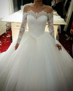 Ulass lace long sleeves tulle ball gowns wedding dresses off the shoulder  2017 sexy QQ9854 from Ulass 55a13f233e58