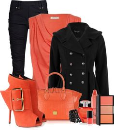 """""""Peach and Black"""" by fashion-766 on Polyvore"""