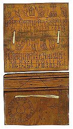 MS in Swedish on ivory, Sweden, ca. 1500, 9 ff., 6x12 cm, single column, (6x11 cm), 4-6 lines in Runes of the younger Futhark, some saints' names added later in French in capitals, 1 solar circle drawn like a ropework spiked wheel with solar numbers in runes, another drawn like a spiked wheel with solar numbers in Gothic book script of medium to low grade and quality, 32 feast day symbols indicated with symbols, runes, crosses and fishes in black and red, 80 drawings of saints in black and…