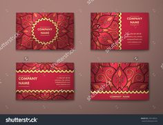 Vector Vintage Visiting Card Set. Floral Mandala Pattern And Ornaments. Oriental Design Layout. Islam, Arabic, Indian, Ottoman Motifs. Front Page And Back Page. - 378148531 : Shutterstock