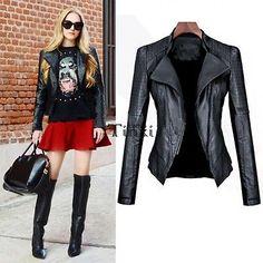 Black Slim Biker Motorcycle Zipper Soft Leather Jacket Short Women Coat TXCL