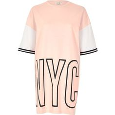 River Island Pink NYC print oversized sweat T-shirt ($48) ❤ liked on Polyvore featuring tops, t-shirts, river island top, patterned tops, oversized t shirt, print top and oversized tops