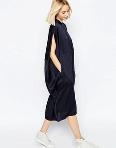 Image 1 of ASOS WHITE Oversized Cape Back Shirt Dress