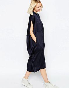 Image 1 ofASOS WHITE Oversized Cape Back Shirt Dress