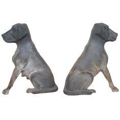 1stdibs | Antique American Cast Iron Labrador Retriever Pup Andirons