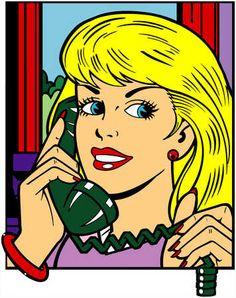 Girl On Phone Comic Art | Woman on telep...