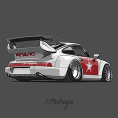 RWB Porsche 964. T-shirts, covers, stickers, posters - already available in my store on @redbubble. Link in profile.  #olegmarkaryan #carartist #carart #cardrawing #automotive #automotivearts #carinstagram #cargram #carposters #speedhunters #rwb #rauhwelt #porschelove #porsche911 #porschelife