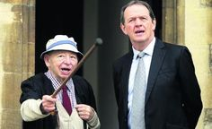 Colin Dexter and Kevin Whately on the set of Lewis.