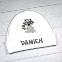 Personalized baby hat with embroidered raccoon – micro preemie / preemie / newborn / months / - Baby Clothes Newborn Newborn Beanie, Baby Outfits Newborn, Newborn Gifts, Micro Preemie, Preemie Babies, Newborn Photo Props, Newborn Photos, Woodland Animals Theme, 3rd Baby