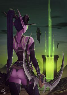Felt like doing a pinup of a Demon hunter from World of Warcraft Legion. Credit goes to Blizzard Entertainment ©. Fantasy Women, Fantasy Girl, Dark Fantasy, Dh Wow, Fantasy Characters, Female Characters, Draenei Female, Zed League Of Legends, World Of Warcraft Legion