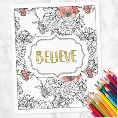 "Inspirational Adult Coloring Page - Print and Color - Printable 8""x10"" Wall Art Print by greenoriginals on Etsy"