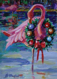 FLAMINGO CHRISTMAS painting by artist Elizabeth Blaylock