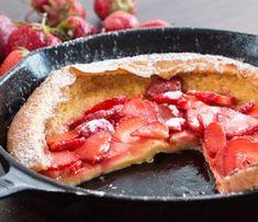 Strawberry Dutch Baby Pancake :: Home Cooking Adventure - recipes - Sausage Cornmeal Pancakes, Oven Pancakes, Baby Pancakes, Strawberry Slice, Strawberry Syrup, Dutch Baby Pancake, Sausage Recipes, Pancake Recipes, Apple Crisp