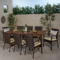 Shop for Villa Outdoor 8 Seater Expandable Wood and Wicker Dining Set by Christopher Knight Home. Get free delivery On EVERYTHING* Overstock - Your Online Garden & Patio Shop! Wicker Dining Set, Outdoor Dining Set, Outdoor Seating, Dining Chairs, Best Outdoor Furniture, Deck Furniture, Expandable Dining Table, Pergola With Roof, Patio Table