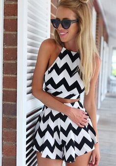 White Black Wave Striped Condole Belt Crop 2-in-1 Short Jumpsuit