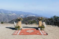 boho ceremony setting with rug // Edgy + eclectic wedding in the Malibu mountains